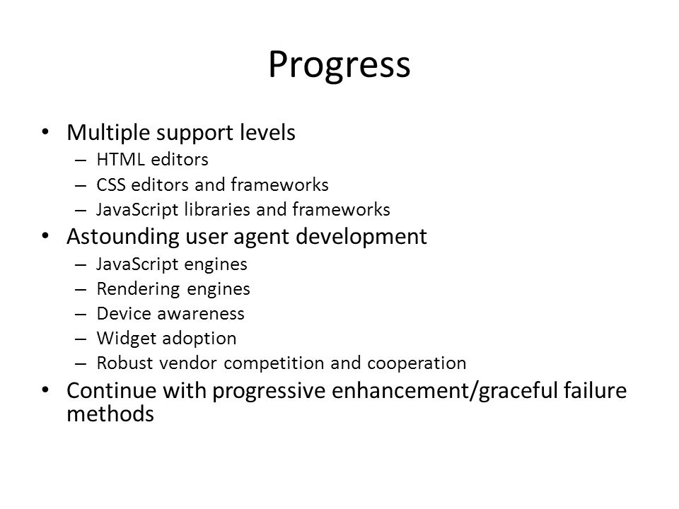 Progress Multiple support levels – HTML editors – CSS editors and frameworks – JavaScript libraries and frameworks Astounding user agent development –