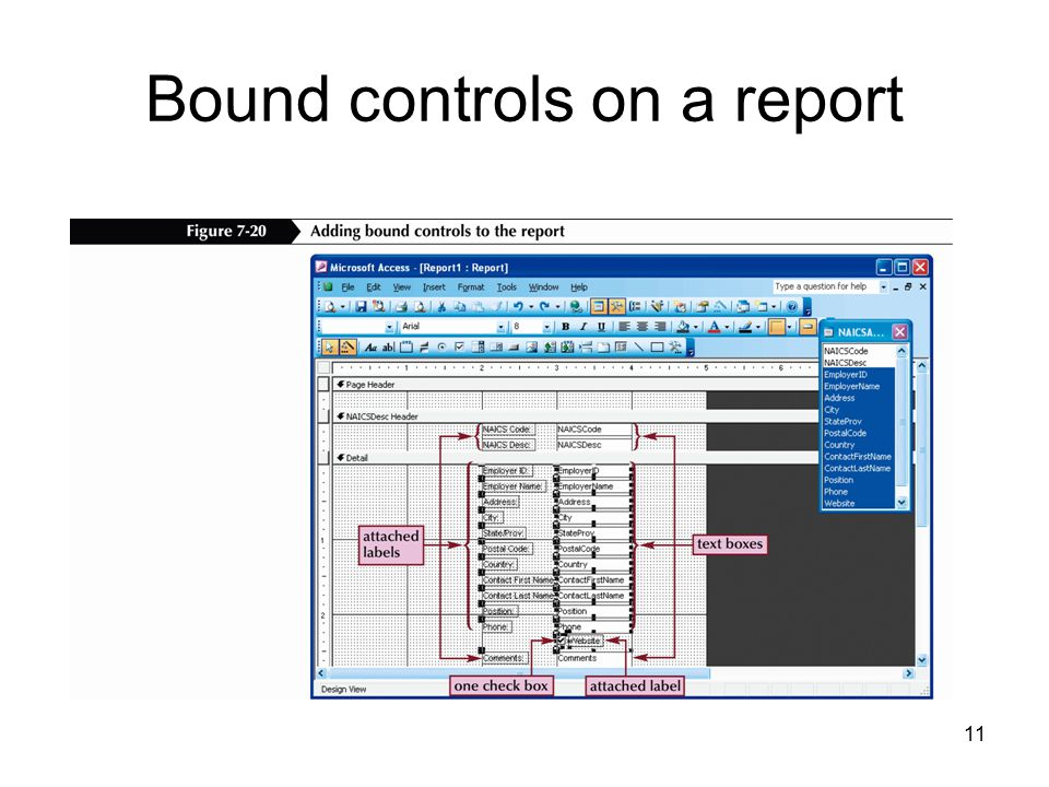 11 Bound controls on a report