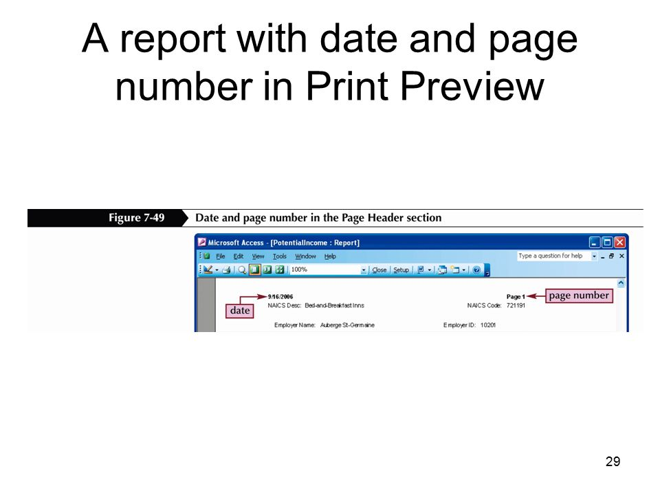 29 A report with date and page number in Print Preview