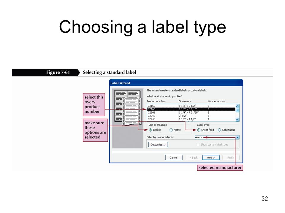 32 Choosing a label type