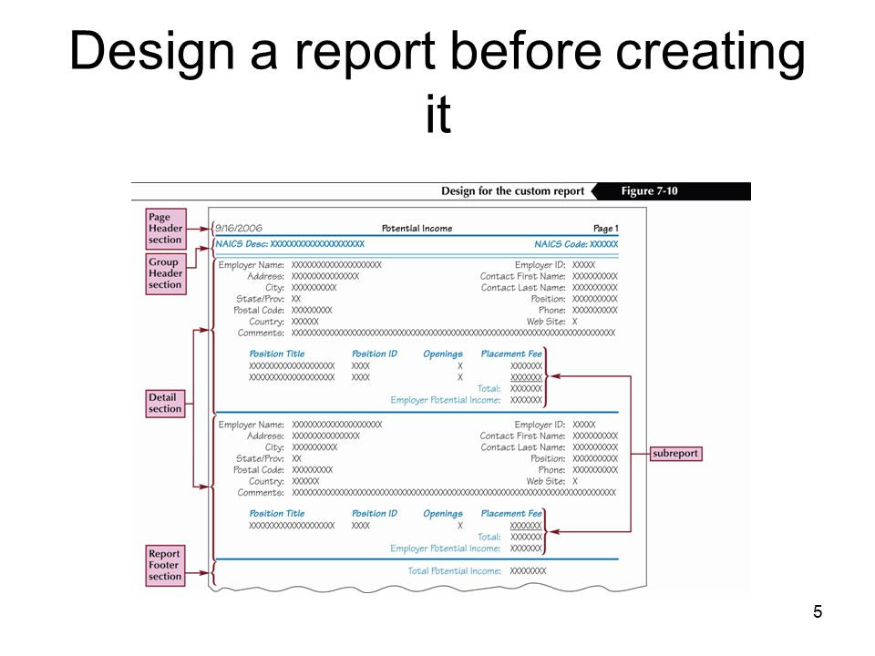 5 Design a report before creating it