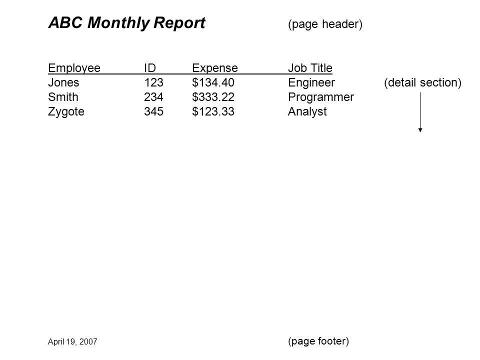 ABC Monthly Report (page header) EmployeeIDExpenseJob Title Jones123$134.40Engineer(detail section) Smith234$333.22Programmer Zygote345$123.33Analyst April 19, 2007 (page footer)