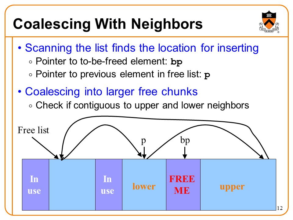12 Coalescing With Neighbors Scanning the list finds the location for inserting  Pointer to to-be-freed element: bp  Pointer to previous element in free list: p Coalescing into larger free chunks  Check if contiguous to upper and lower neighbors In use FREE ME In use Free list bpp lowerupper