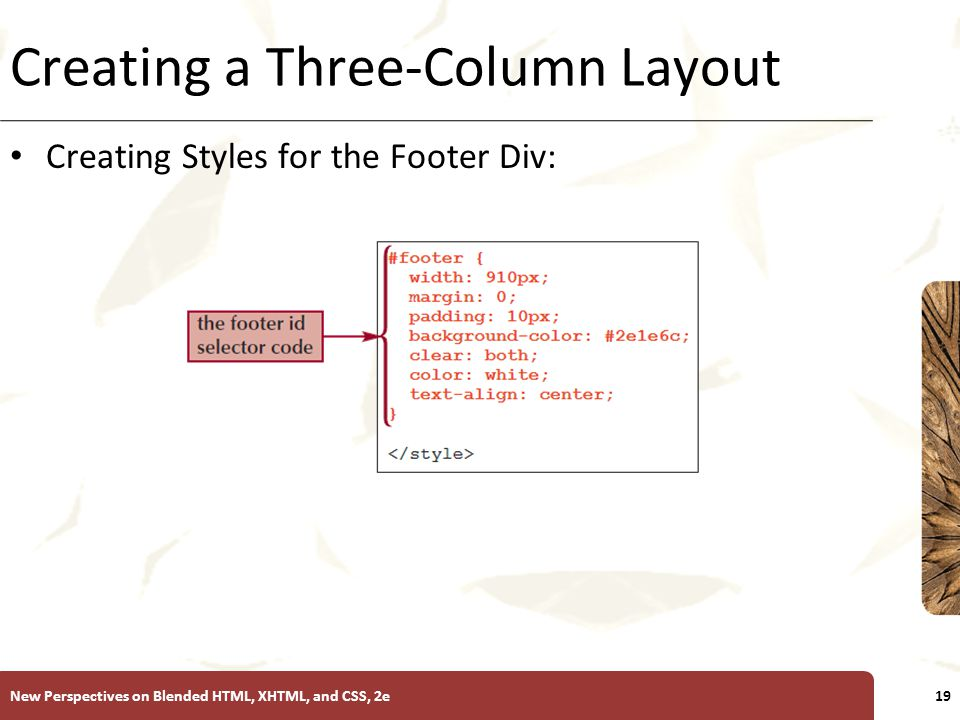 XP Creating a Three-Column Layout Creating Styles for the Footer Div: New Perspectives on Blended HTML, XHTML, and CSS, 2e19