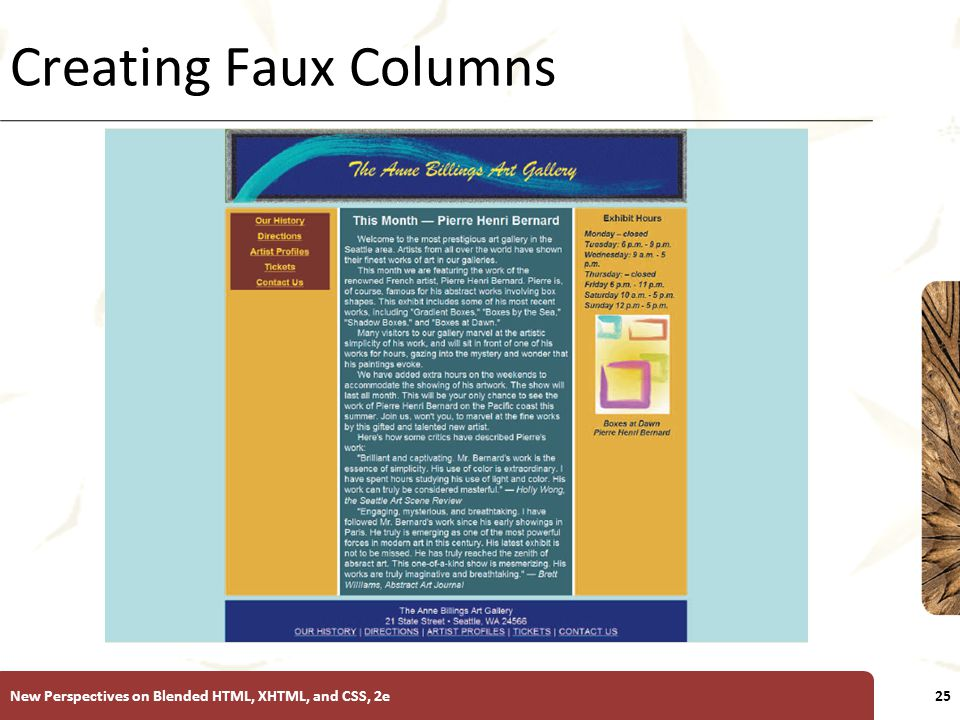 XP Creating Faux Columns New Perspectives on Blended HTML, XHTML, and CSS, 2e25