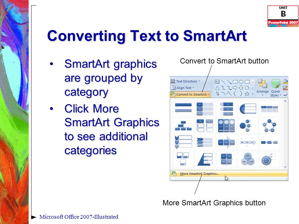 Converting Text to SmartArt SmartArt graphics are grouped by categorySmartArt graphics are grouped by category Click More SmartArt Graphics to see additional categoriesClick More SmartArt Graphics to see additional categories Microsoft Office 2007-Illustrated More SmartArt Graphics button Convert to SmartArt button