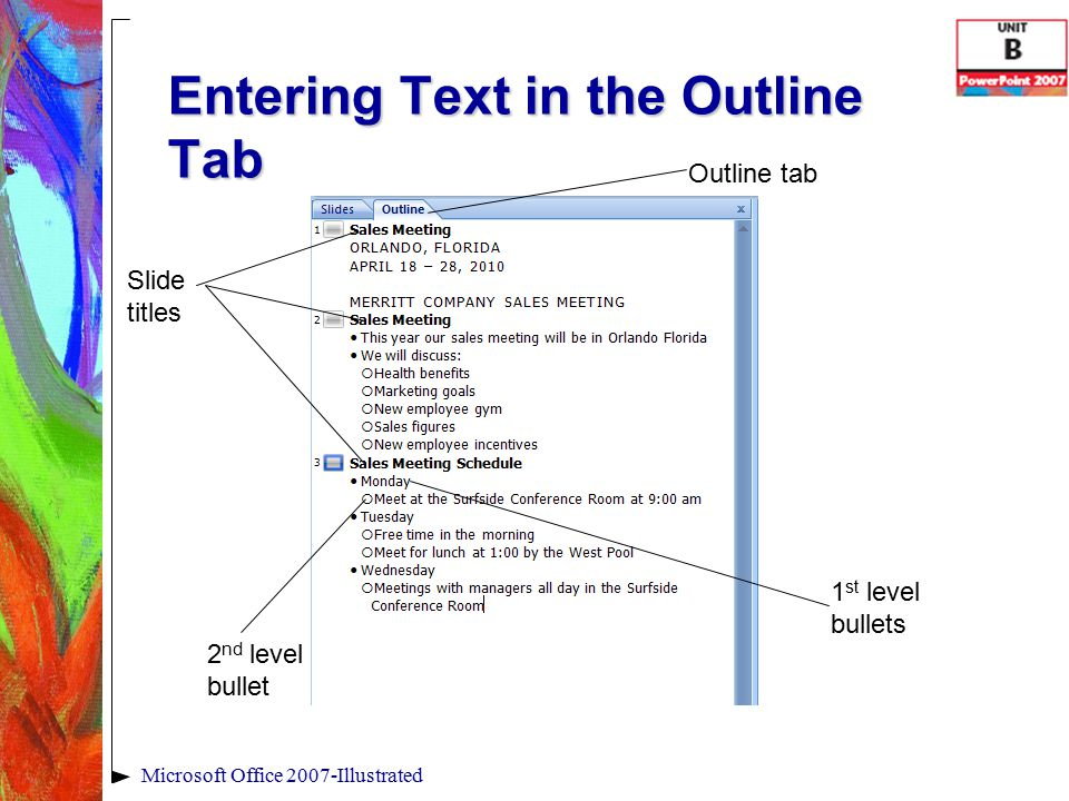 Entering Text in the Outline Tab Microsoft Office 2007-Illustrated 1 st level bullets Slide titles Outline tab 2 nd level bullet