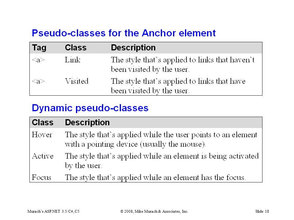 Murach's ASP.NET 3.5/C#, C5© 2008, Mike Murach & Associates, Inc.Slide 18