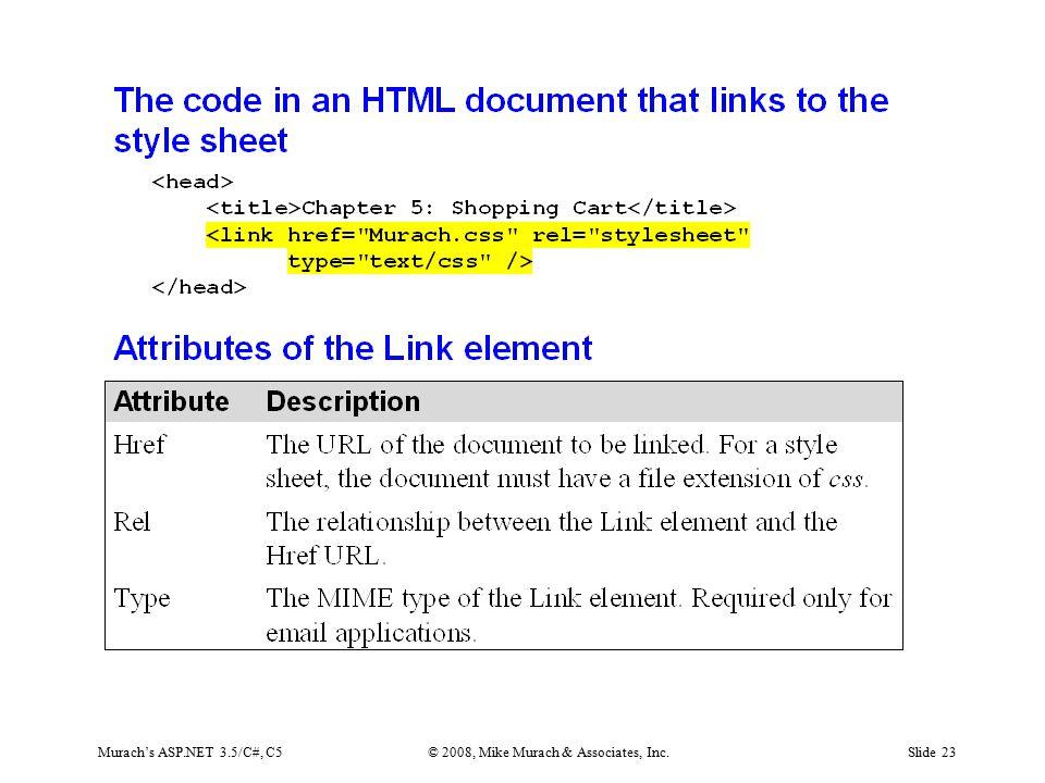 Murach's ASP.NET 3.5/C#, C5© 2008, Mike Murach & Associates, Inc.Slide 23