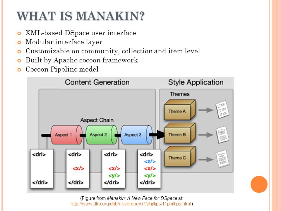 SOME MANAKIN CONCEPTS Cocoon: a web development framework built around the concept of pipeline, separation of concerns and a component-based architecture.