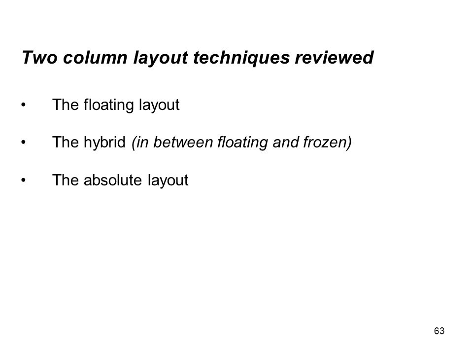 63 Two column layout techniques reviewed The floating layout The hybrid (in between floating and frozen) The absolute layout