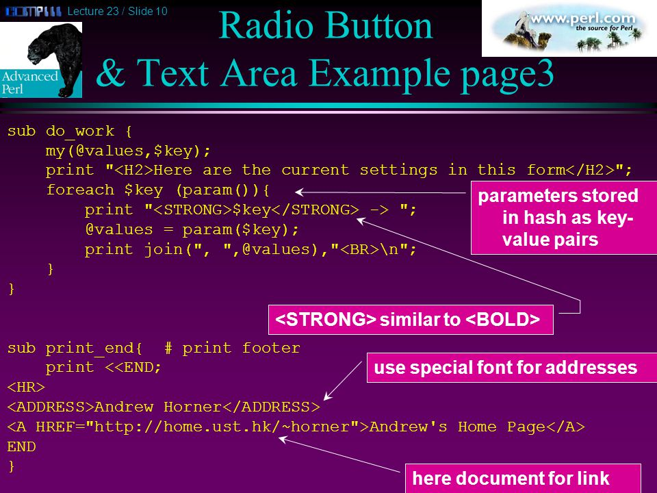 Lecture 23 / Slide 10 Radio Button & Text Area Example page3 sub do_work { my(@values,$key); print Here are the current settings in this form ; foreach $key (param()){ print $key -> ; @values = param($key); print join( , ,@values), \n ; } sub print_end{ # print footer print <<END; Andrew Horner Andrew s Home Page END } parameters stored in hash as key- value pairs similar to here document for link use special font for addresses