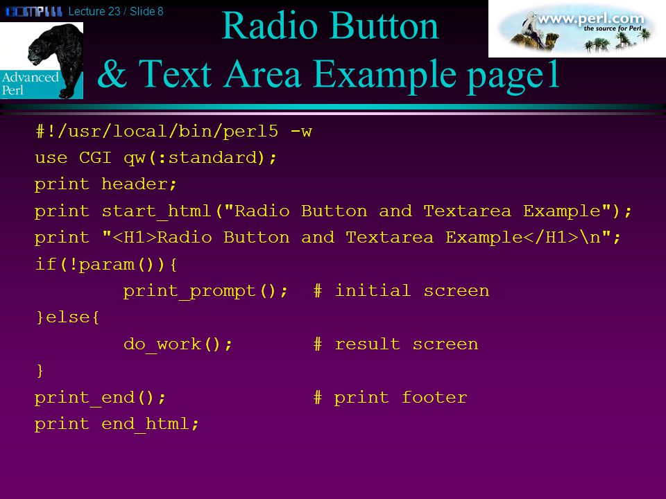 Lecture 23 / Slide 9 Radio Button & Text Area Example page2 sub print_prompt { print start_form; print What s your name.
