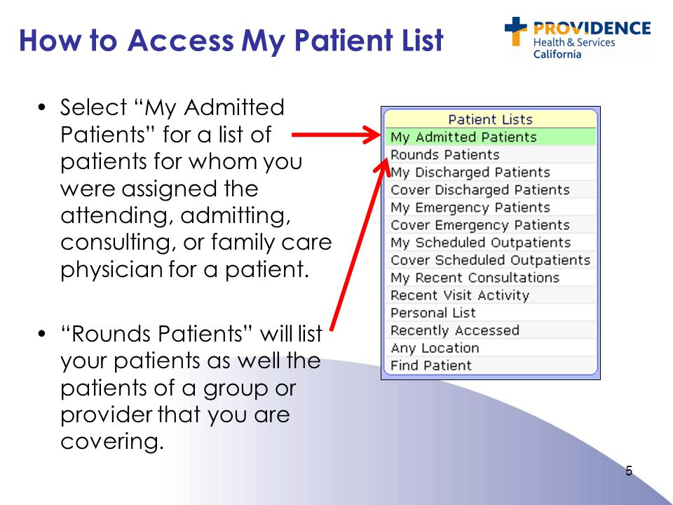 How to Access My Patient List Select My Admitted Patients for a list of patients for whom you were assigned the attending, admitting, consulting, or family care physician for a patient.