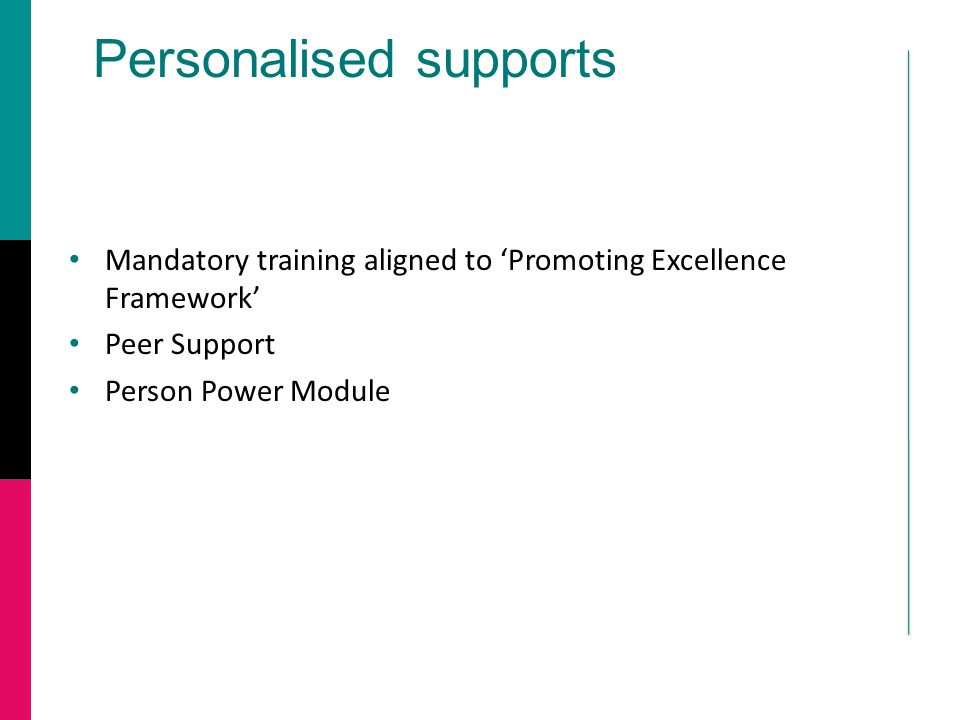 Personalised supports Mandatory training aligned to 'Promoting Excellence Framework' Peer Support Person Power Module