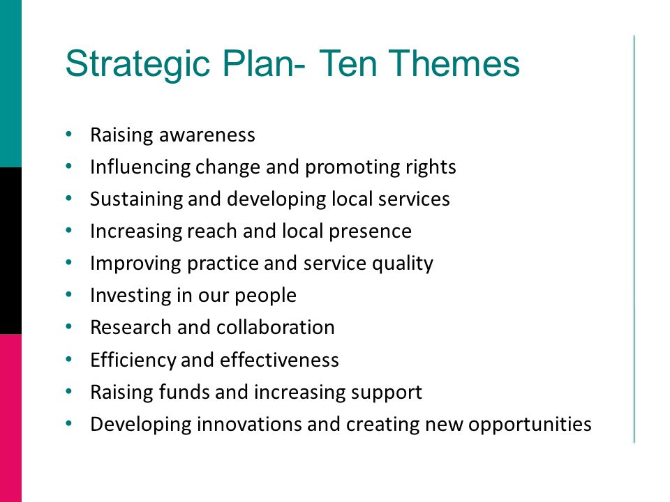 Strategic Plan- Ten Themes Raising awareness Influencing change and promoting rights Sustaining and developing local services Increasing reach and local presence Improving practice and service quality Investing in our people Research and collaboration Efficiency and effectiveness Raising funds and increasing support Developing innovations and creating new opportunities