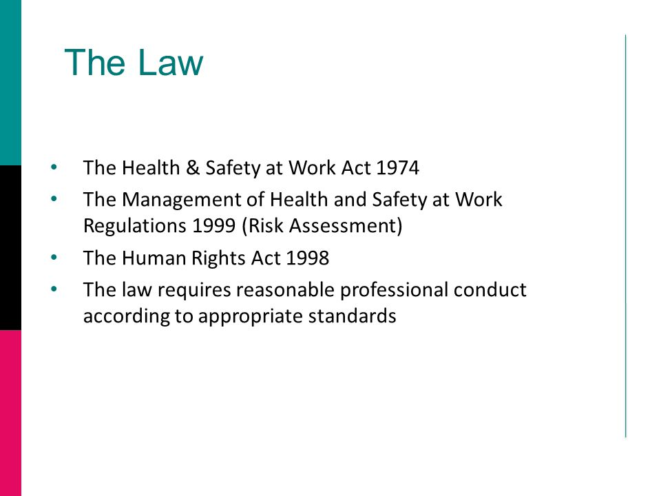 The Law The Health & Safety at Work Act 1974 The Management of Health and Safety at Work Regulations 1999 (Risk Assessment) The Human Rights Act 1998 The law requires reasonable professional conduct according to appropriate standards