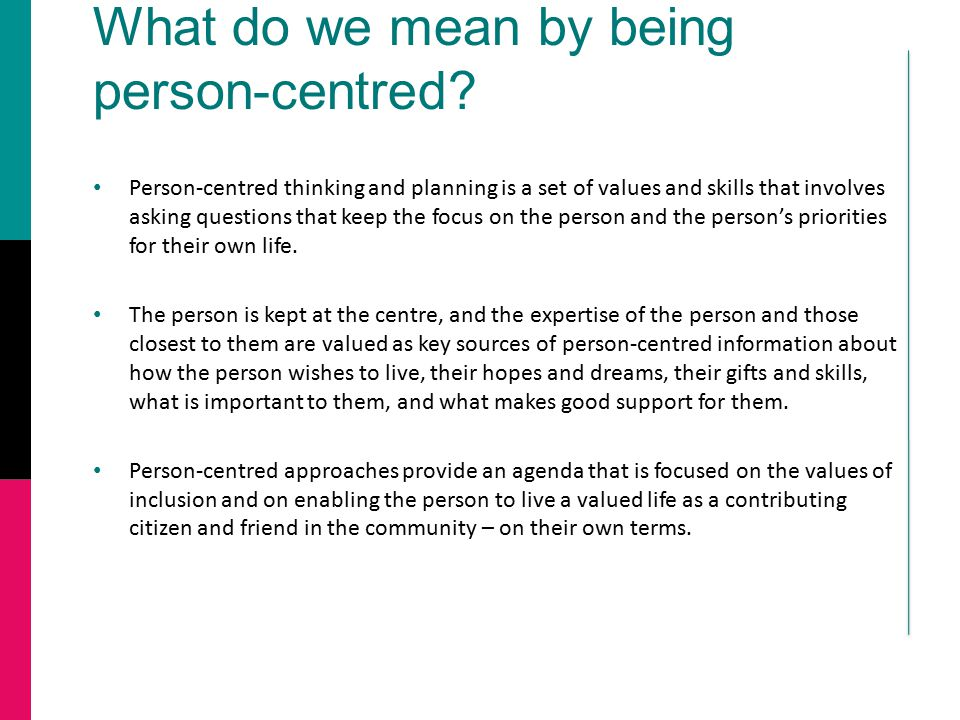 What do we mean by being person-centred.