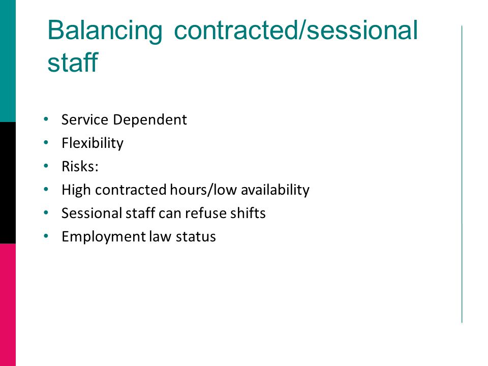 Balancing contracted/sessional staff Service Dependent Flexibility Risks: High contracted hours/low availability Sessional staff can refuse shifts Employment law status