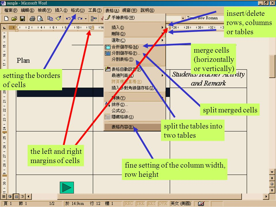 insert/delete rows, columns or tables merge cells (horizontally or vertically) split merged cells split the tables into two tables fine setting of the column width, row height the left and right margins of cells setting the borders of cells