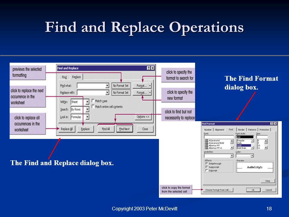18Copyright 2003 Peter McDevitt Find and Replace Operations The Find and Replace dialog box.