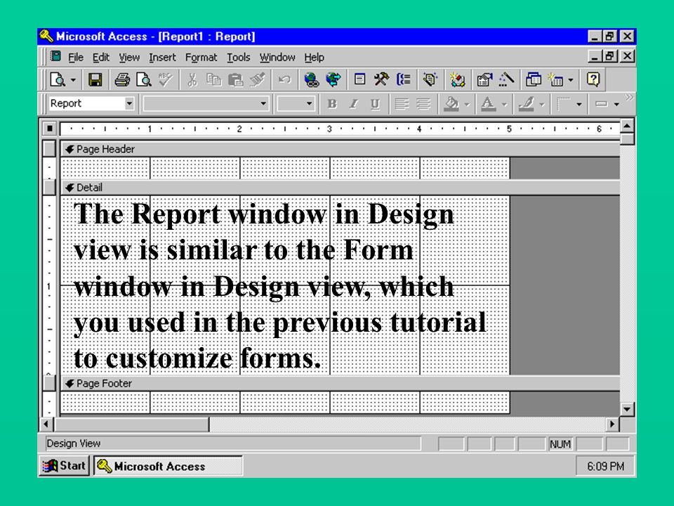 The Report window in Design view is similar to the Form window in Design view, which you used in the previous tutorial to customize forms.
