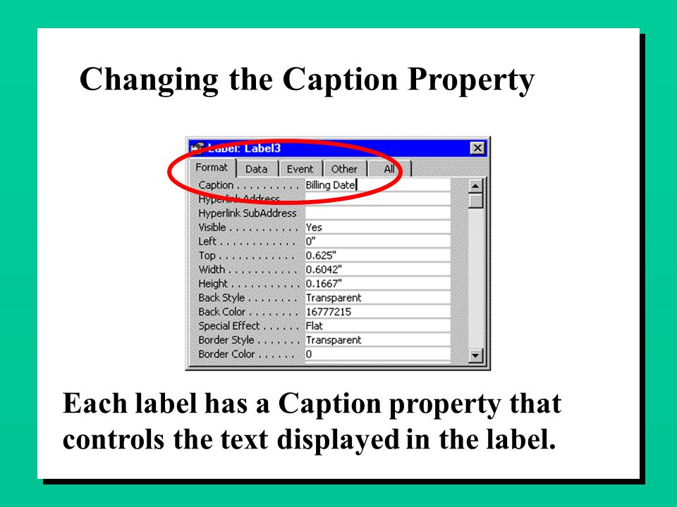 Changing the Caption Property Each label has a Caption property that controls the text displayed in the label.