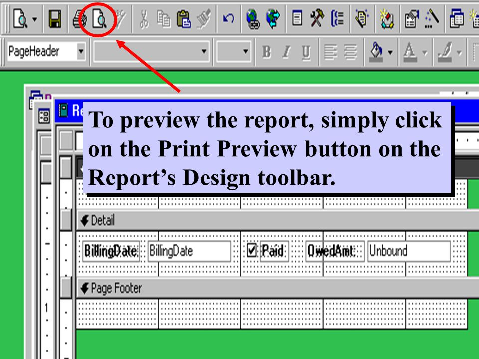 To preview the report, simply click on the Print Preview button on the Report's Design toolbar.