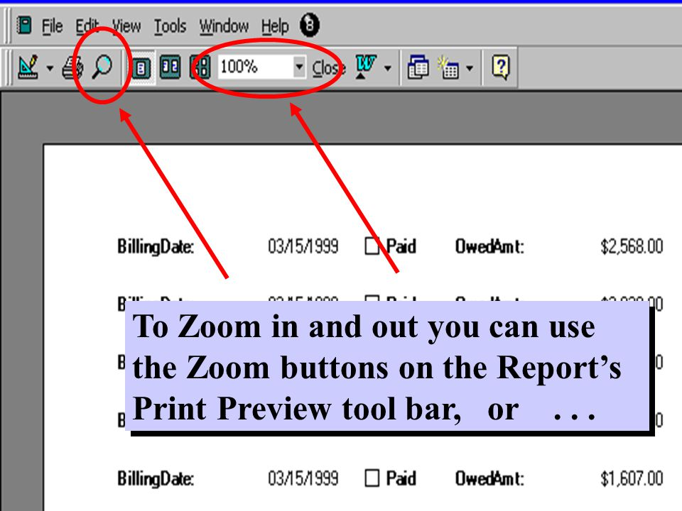 To Zoom in and out you can use the Zoom buttons on the Report's Print Preview tool bar, or...