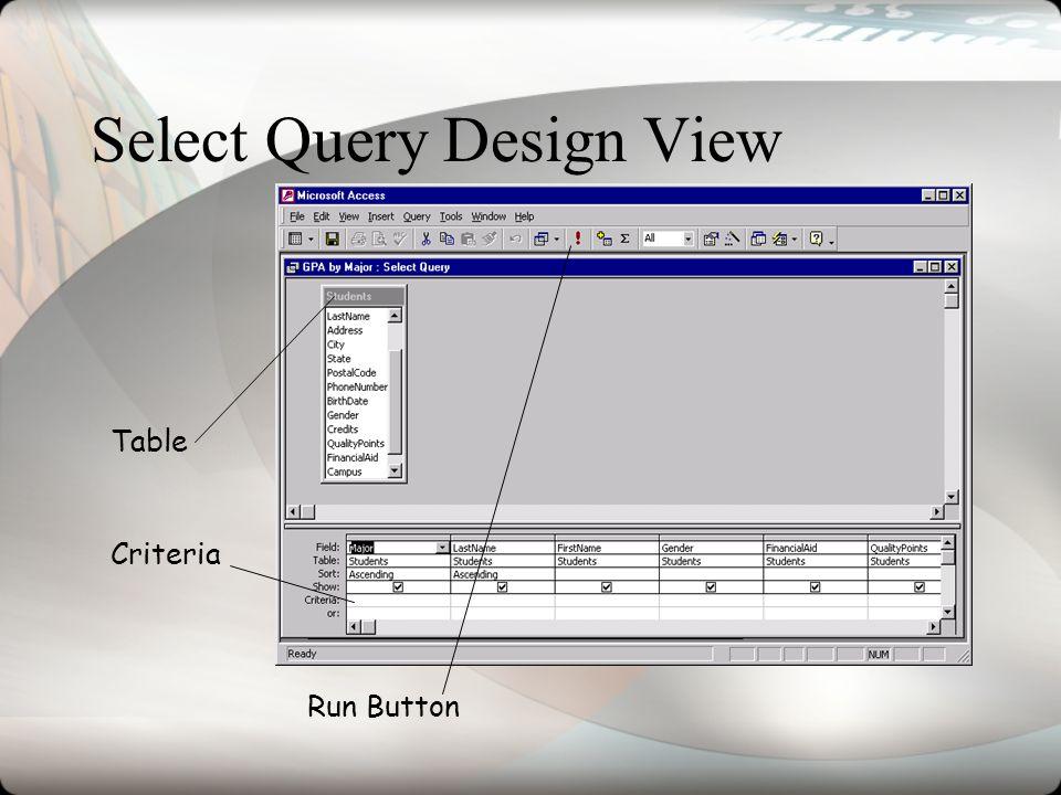 Select Query Design View Table Run Button Criteria