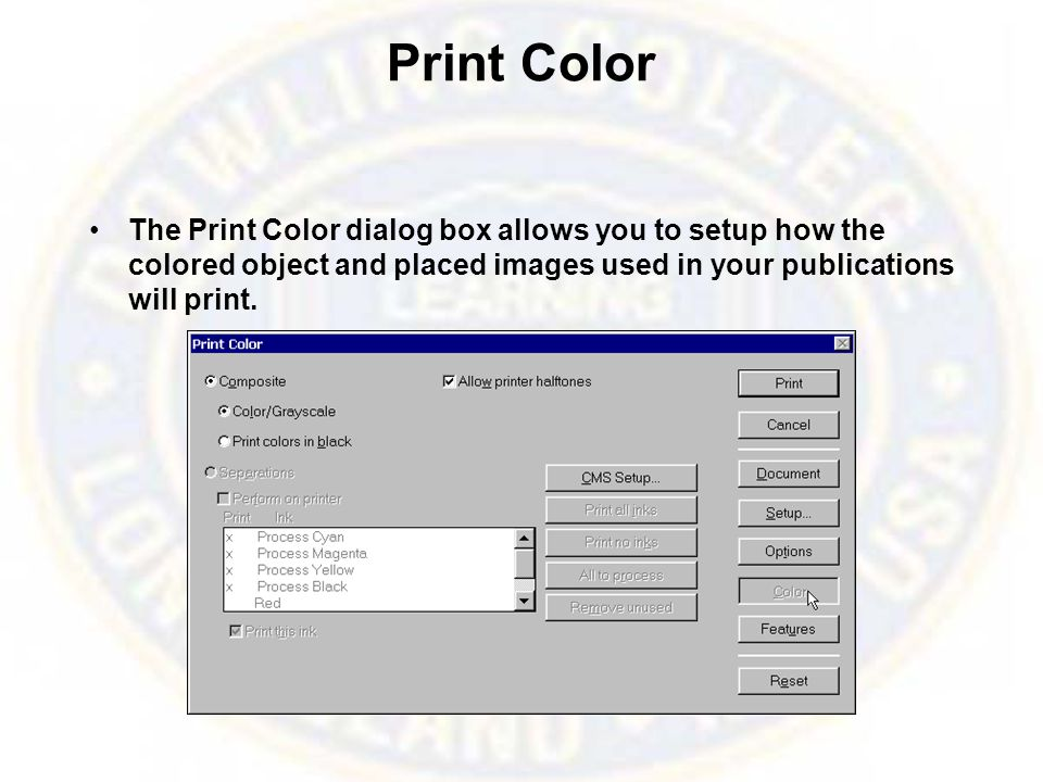 Print Features The Print Features dialog box is specific to every printer you select and it allows you to setup more print options.