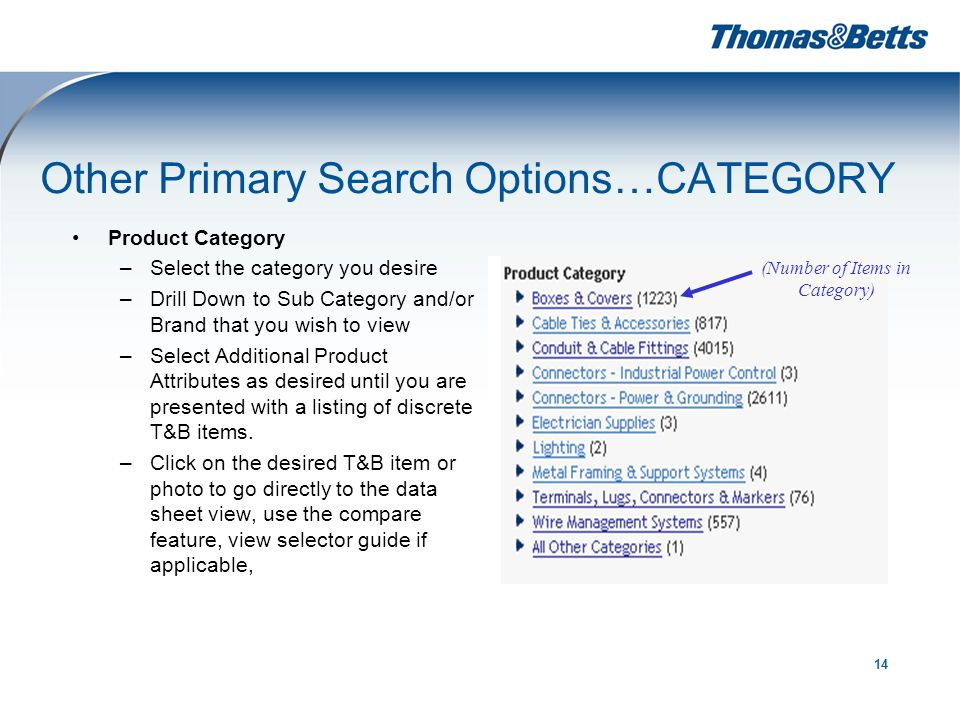 14 Other Primary Search Options…CATEGORY Product Category –Select the category you desire –Drill Down to Sub Category and/or Brand that you wish to view –Select Additional Product Attributes as desired until you are presented with a listing of discrete T&B items.