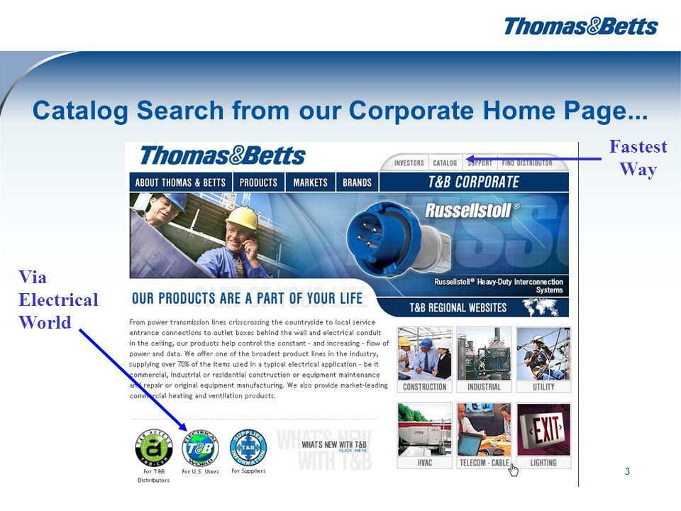 3 Catalog Search from our Corporate Home Page... Via Electrical World Fastest Way