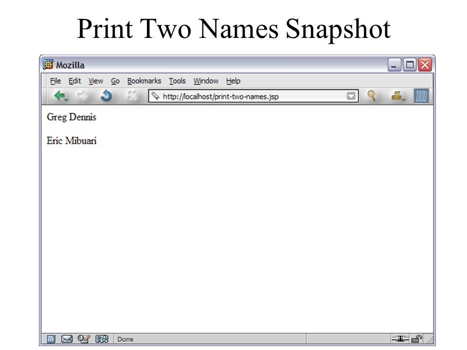 Print Two Names Snapshot