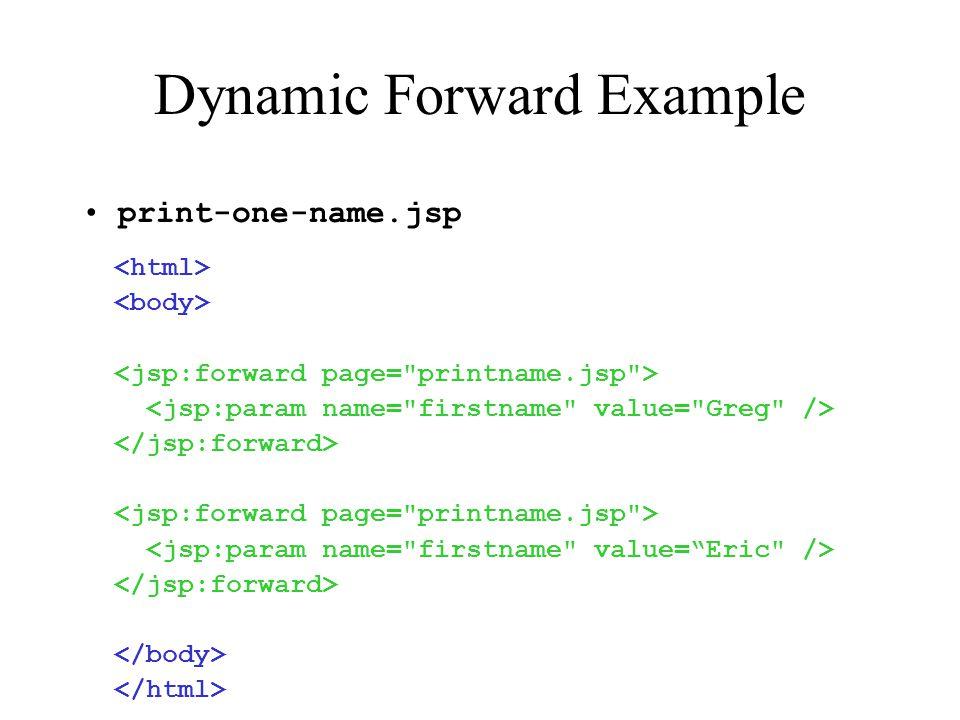 Dynamic Forward Example print-one-name.jsp