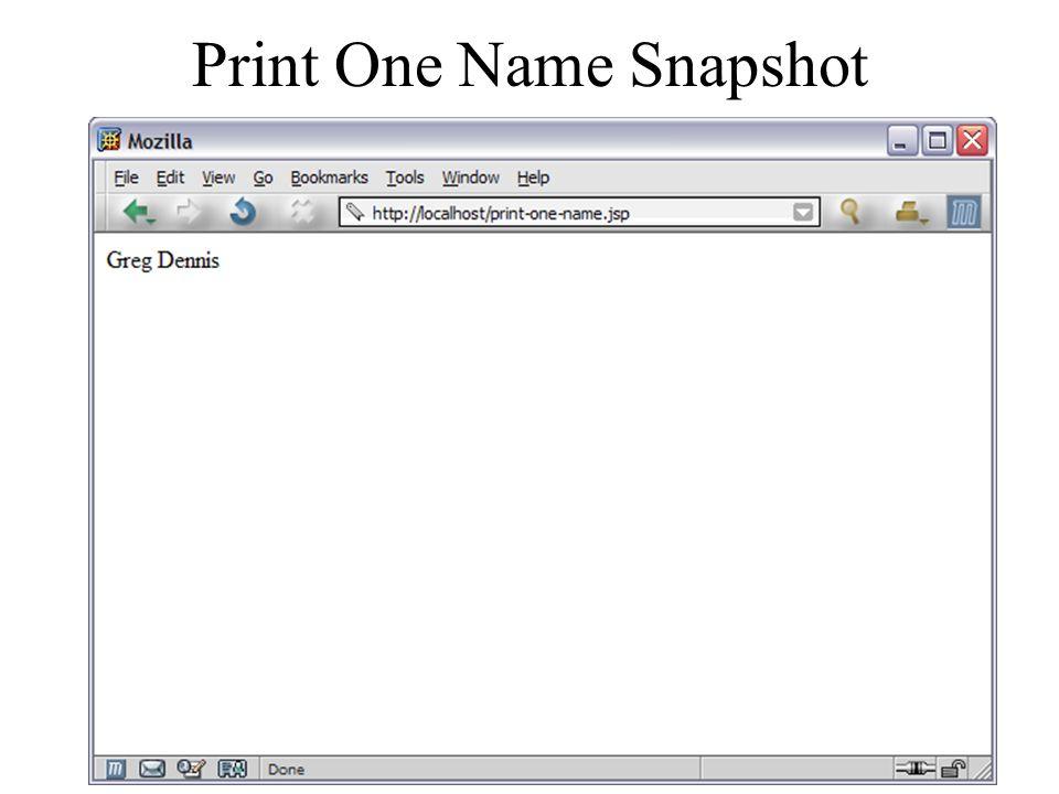 Print One Name Snapshot