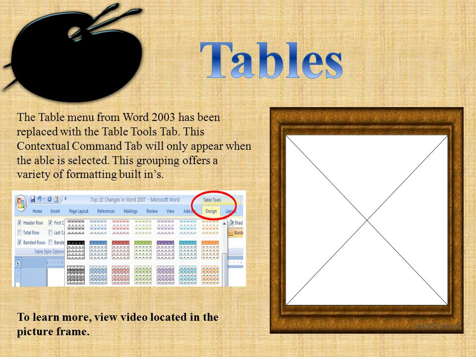 The Table menu from Word 2003 has been replaced with the Table Tools Tab.