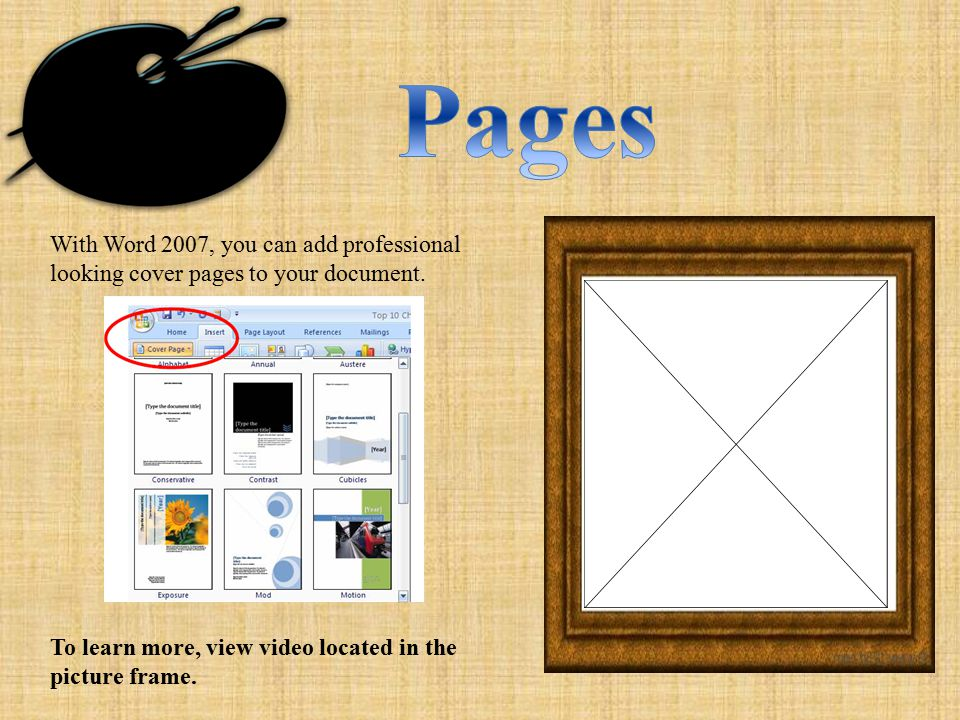 With Word 2007, you can add professional looking cover pages to your document.