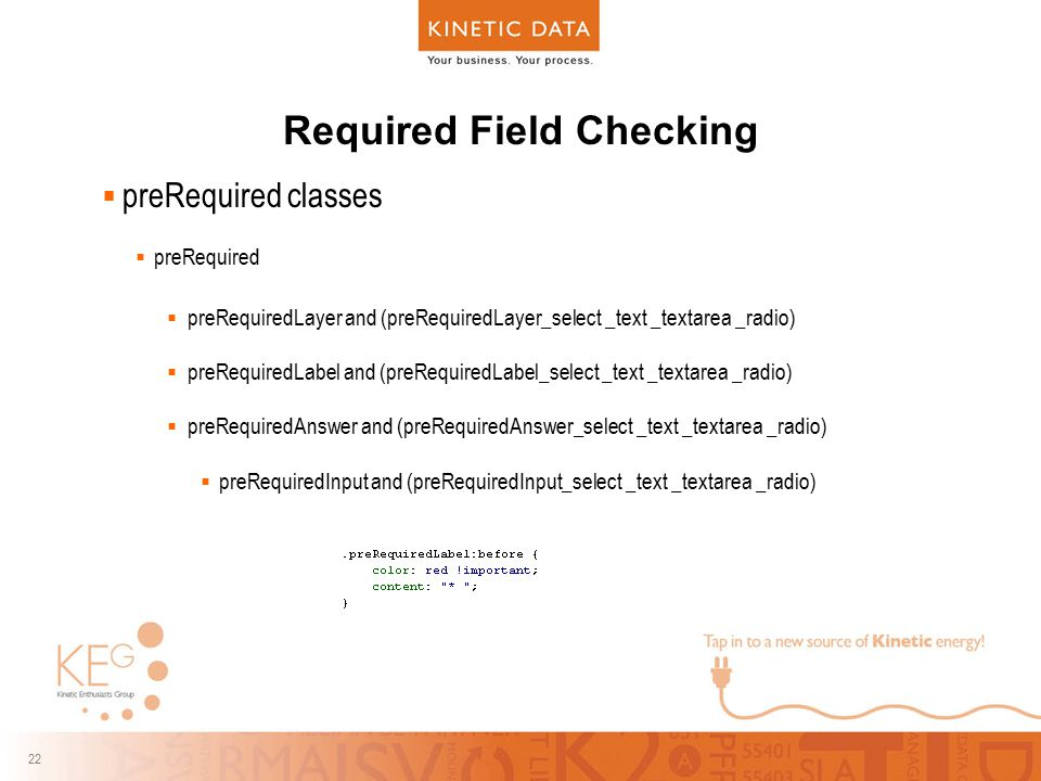 22 Required Field Checking  preRequired classes  preRequired  preRequiredLayer and (preRequiredLayer_select _text _textarea _radio)  preRequiredLa