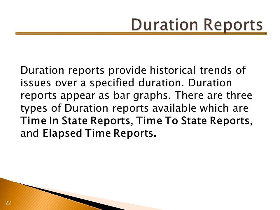Duration reports provide historical trends of issues over a specified duration.