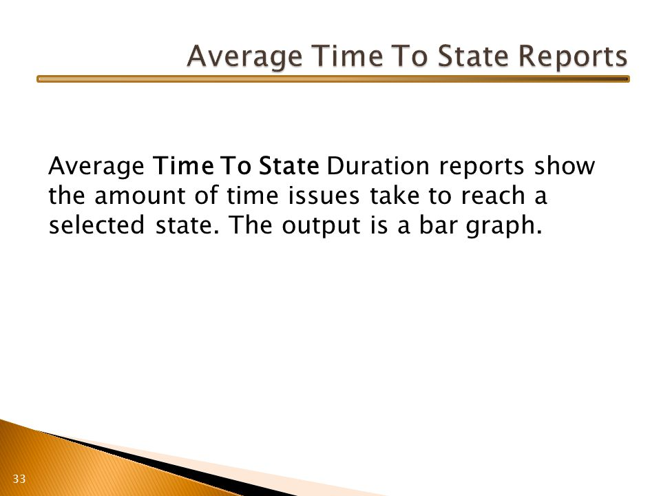Average Time To State Duration reports show the amount of time issues take to reach a selected state.