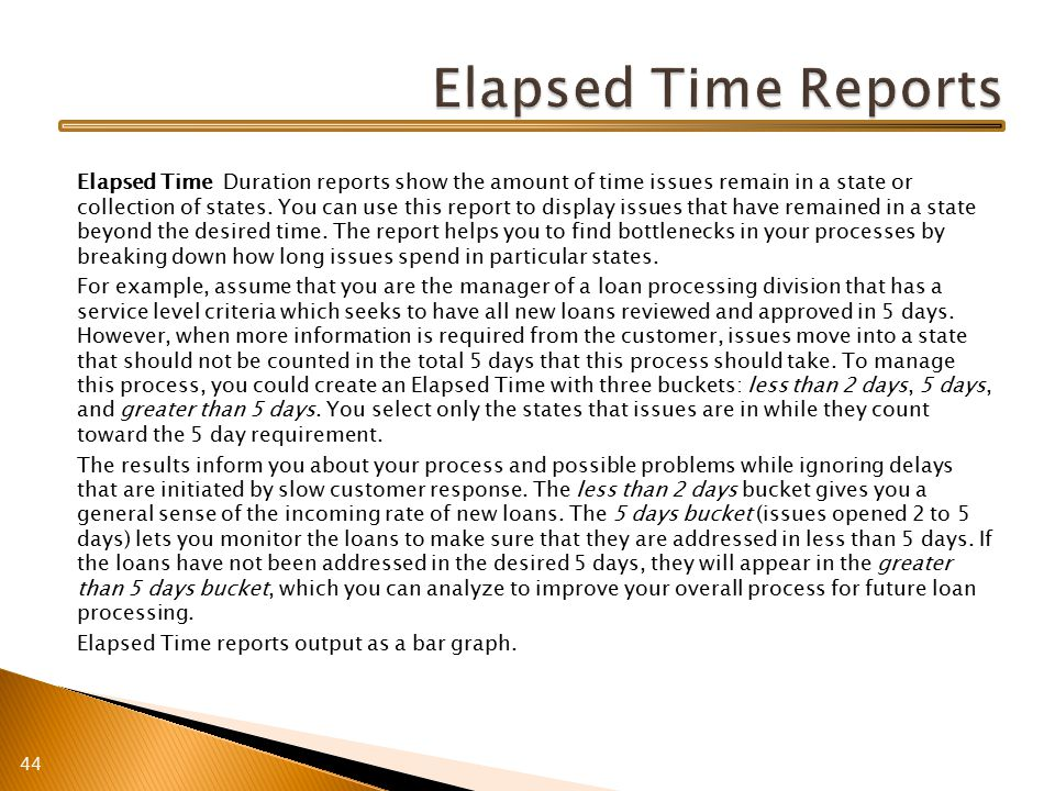 Elapsed Time Duration reports show the amount of time issues remain in a state or collection of states.
