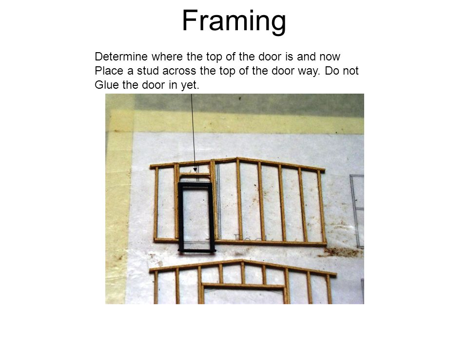 Framing Determine where the top of the door is and now Place a stud across the top of the door way.