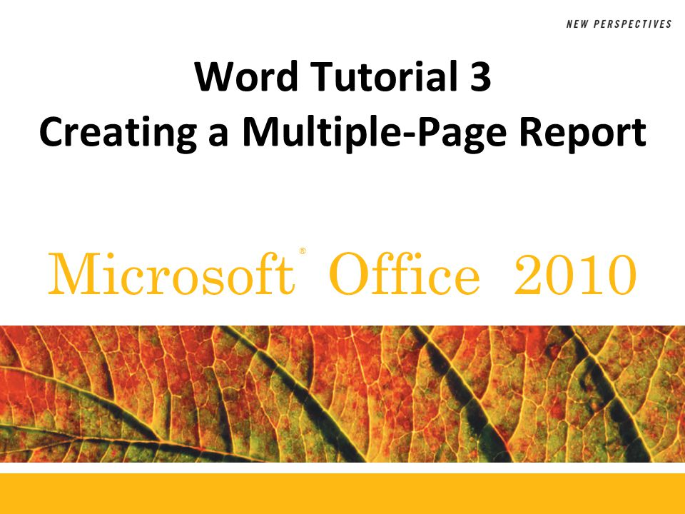 ® Microsoft Office 2010 Word Tutorial 3 Creating a Multiple-Page Report