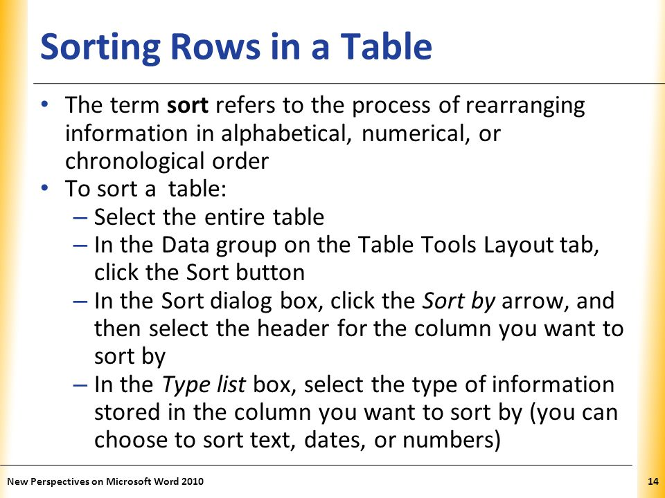 XP Sorting Rows in a Table The term sort refers to the process of rearranging information in alphabetical, numerical, or chronological order To sort a table: – Select the entire table – In the Data group on the Table Tools Layout tab, click the Sort button – In the Sort dialog box, click the Sort by arrow, and then select the header for the column you want to sort by – In the Type list box, select the type of information stored in the column you want to sort by (you can choose to sort text, dates, or numbers) New Perspectives on Microsoft Word 201014