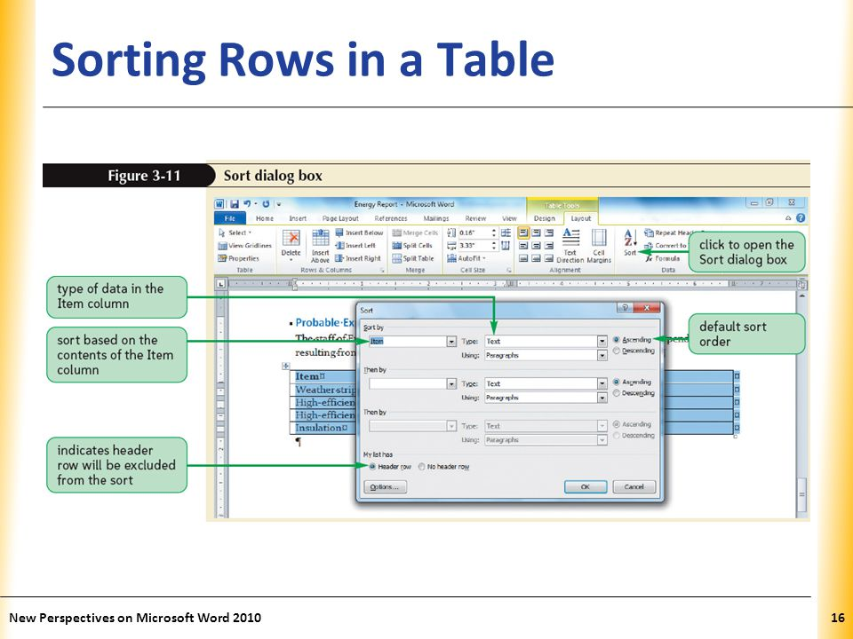 XP Sorting Rows in a Table New Perspectives on Microsoft Word 201016