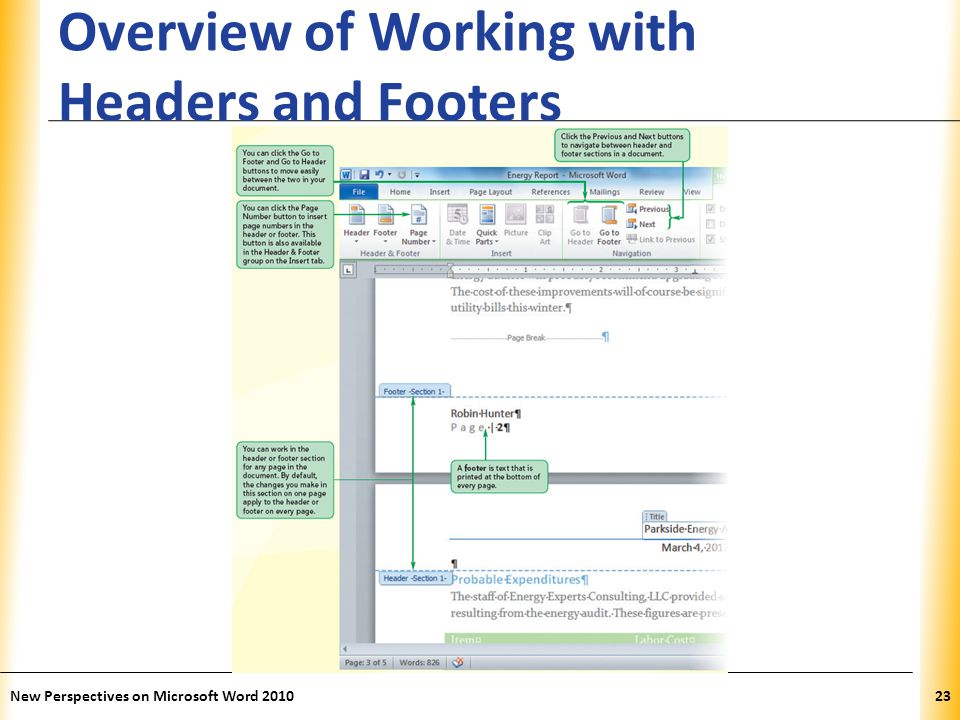 XP Overview of Working with Headers and Footers New Perspectives on Microsoft Word 201023