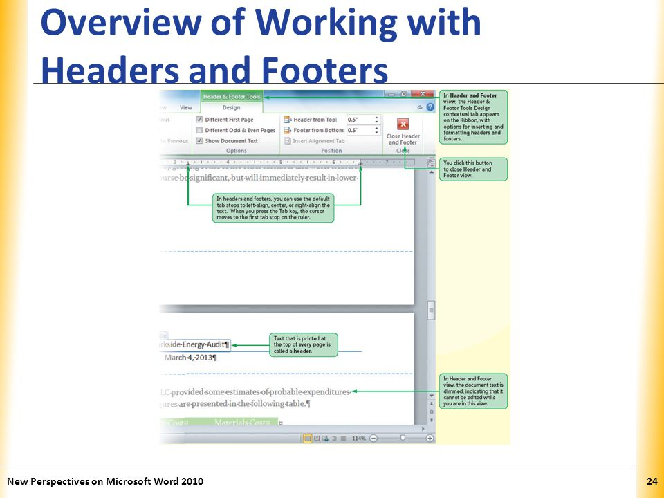 XP Overview of Working with Headers and Footers New Perspectives on Microsoft Word 201024