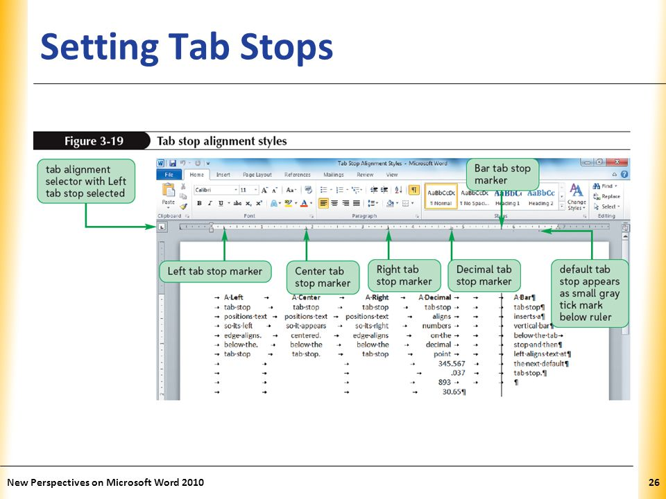 XP Setting Tab Stops New Perspectives on Microsoft Word 201026