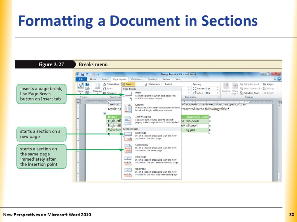 XP Formatting a Document in Sections New Perspectives on Microsoft Word 201030